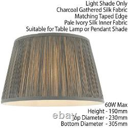 12 Elegant Round Tapered Drum Lamp Shade Charcoal Gathered Pleated Silk Cover
