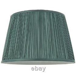 12 Elegant Round Tapered Drum Lamp Shade Fir Green Gathered Pleated Silk Cover