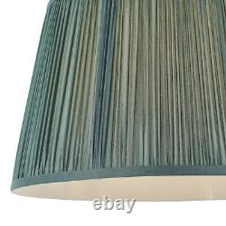 14 Elegant Round Tapered Drum Lamp Shade Fir Green Gathered Pleated Silk Cover