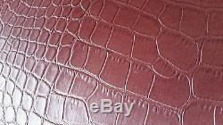 2 BURGANDY FAUX GATOR PRINT GOLD LINING 12T×9H×14B tapered drum lampshade