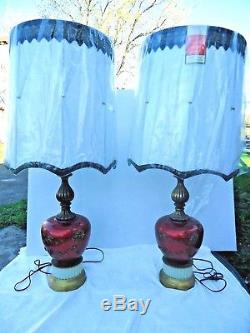 2 Gold Roses Large Red Table Lamps Lighted Bases Black & White Drum Shades vtg
