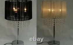 21 Crystal Chandelier Silver Finish Table Lamp + Black or Cream Lace Shade