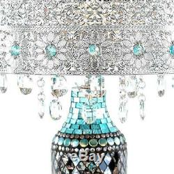24.25 In. Turquoise Indoor Table Lamp Gloria'S Crystal Beaded Shade Mosaic Base