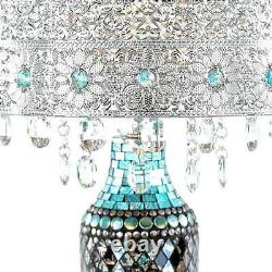 24.25 in. Turquoise Indoor Table Lamp with Gloria's Crystal Beaded