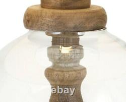 27 Round Table Lamp Bubble Glass Encased Turned Wood Post Base Linen Drum Shade