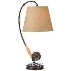 28 in. Table Lamp, New Drum Shade Coastal Style Bronze Table Lamp With Wood Accent