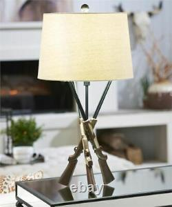 29 Rustic Shotgun Design Table Lamp with Shade and Tripod Base