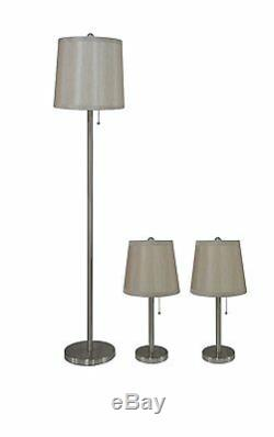3-piece Table & Floor Lamp Set in Brushed Nickel with Champagne Silk Lamp Shades