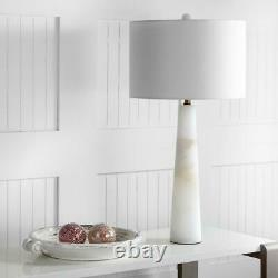 30 in. White Marble Alabaster Table Lamp with Off-White Shade Lighting Fixture