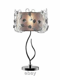 34H Silver Crystal Table Lamp with drum shade OK-5121T
