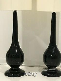 42 Tall Footed Table Lamp Pair, Black Glass, Ivory Lampshade. Midcentury Modern