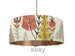 6 Brushed linings RARE 50s Mary White Cottage garden Heals fabric Lampshade