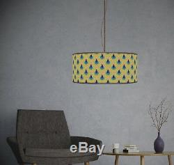 60cm Geometric Navy turquois Printed Lamp Shade pendant Drum CEILING Light 899