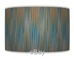 60cm stripes Teal Brown gold Printed Lamp Shade pendant Drum CEILING Light 957