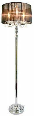 61.5 in. Floor Lamp with White Sheer Shade and Beautiful Draping Crystals, Black