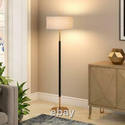 61.5 in. Matte Black and Brass Floor Lamp Includes 6 ft. Cord French Drum Shade