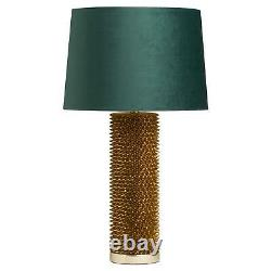 75cm Antique Gold Acantho Tall Table Lamp with Emerald Green Velvet Lamp Shade