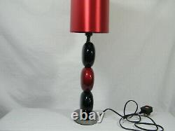 A Beautiful Art Deco Table Lamp with 3 Glass Bauble's, Red Silk Shade & C/ Base