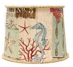 AHS Lighting SD1468-12WD Nautical Patchwork Drum Lamp Shade with Washer, 12