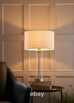 AURORA Touch Dimmer Table Lamp Brushed Gold with White Shade & Glass Base E27
