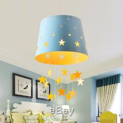 Adorable Pierced Star Blue Pink Hanging Drum Shade Kids Room Pendant Light Lamps