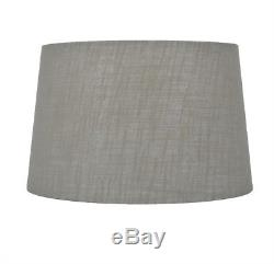 Allen + roth 10-in x 15-in Gray Fabric Drum Lamp Shade SH4431