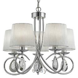Angelique Chrome 5 Light Ceiling Pendant Chandelier Fitting Ruffled Lamp Shades