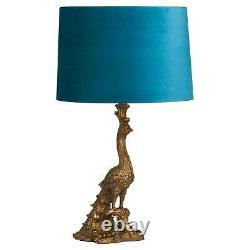 Antique Gold Peacock Shaped Lamp With Teal Velvet Lamp Shade