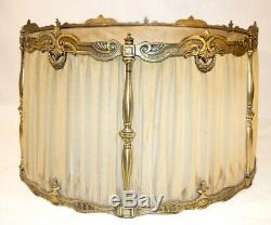 Antique Lampshade Brass + Silk Pleated Drum Lamp Shade 20 Large Ornate