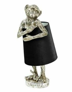 Antique Silver Cheeky Monkey Table Lamp With Black Velvet Shade 55.5cm