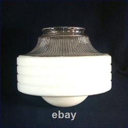 Art Deco White Clear Ringed Glass Ceiling Light Shade Bubble Center