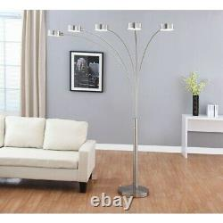 Artiva USA Micah Plus Modern LED 88-inch 5-Arched Brushed Steel Floor Lamp