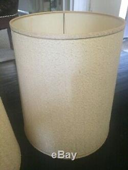 BEST PAIR Two Vintage MCM Drum BARREL Ivory Fabric Lamp Shades LARGE 18.5 TALL