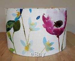 BLUEBELLGRAY FLOWER FIELD fabric pink blue floral drum pendant lampshade 40cm