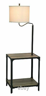 Better Homes and Garden 4 Foot 7 Inch End Table Floor Lamp with USB Port, Weath