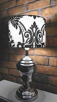 Black White Damask Fabric Hamptons Drum Lampshade Vintage Table Lamp Shade Only