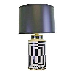 Black/White/Gold Glazed Ceramic Table Lamp with Geometric Design 66cm and Shade