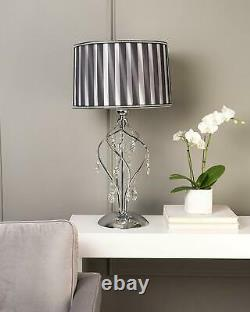 Black and White Elegant Shade Twisted Metal Frame Crystal Table Lamp 30.5H