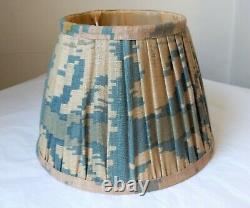 Blue green oka lampshade pleated silk ikat now discontinued drum empire