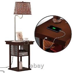 Brightech Madison Nightstand Side Table with Built In Lamp and USB Port, Brown