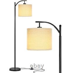 Brightech Montage Standing Floor Smart Lamp with LED Light & Drum Shade, Black