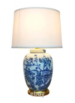 Chinese Porcelain Ceramic Blue Willow Landscape Jar Table Lamp with Shade 61cm