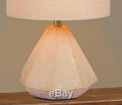 Concrete Table Lamp Heavy Faceted Pyramid Base Gold Flecked Designer Shade