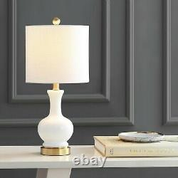 Cox 22 in. White Glass/Metal LED Table Lamp (Set of 2) by JONATHAN Y