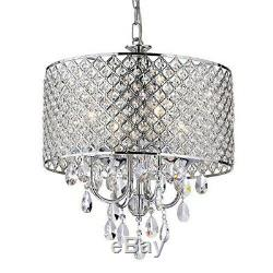 Crystal Chandelier Ceiling Light Pendant Fixture Drum Lamp Shade 4 lights USA