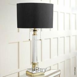 Crystal Column Table Lamp Antique Brass Finish Black Drum Shade Gold Lining 30
