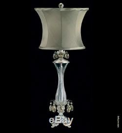 Crystal Pirouette Table Lighting Fixture Lamp French Gold 29 with Silk Drum Shade