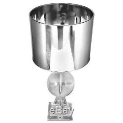 Crystal Thistle Glass Base Table Lamp With 14-inch Silver Reflective Drum Shade