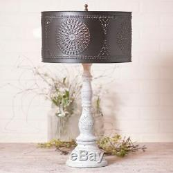 Davenport Lamp In Americana Vintage White with Drum Shade