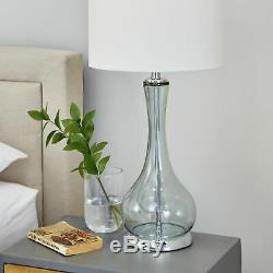 Decmode Light Blue Glass Table Lamp with White Drum Shade 8 x 28
